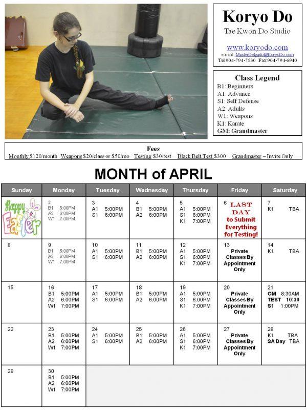 2018-04 April Calendar