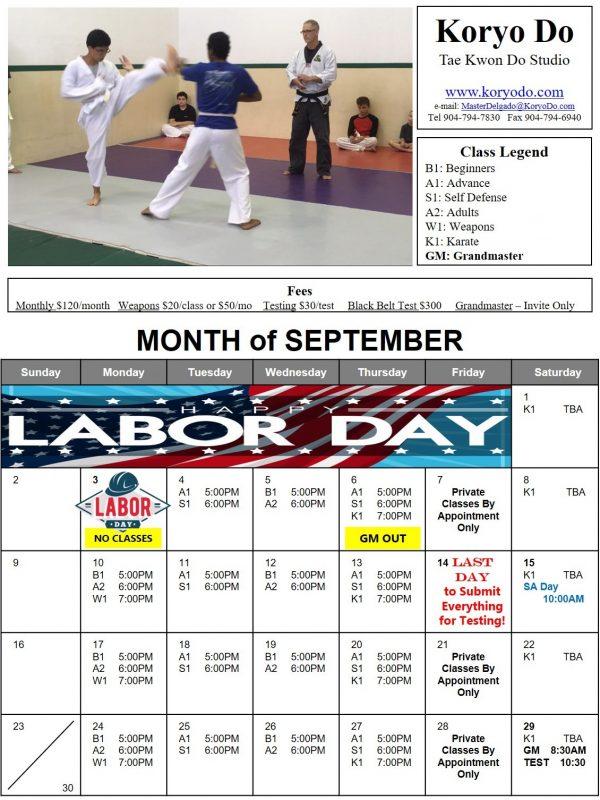 2018-09 September Calendar
