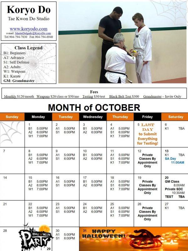 2018-10 October Calendar