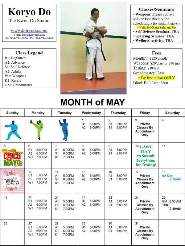 2019-05 May Calendar
