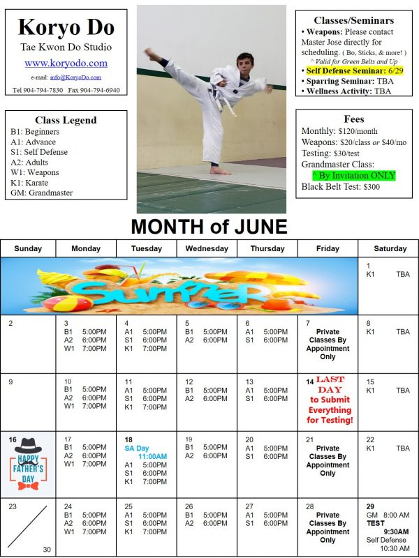 2019-06 June Calendar